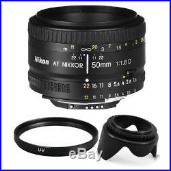 Nikon AF FX NIKKOR 50mm f/1.8D Prime Lens + 52mm Accessory Kit for Nikon DSLR