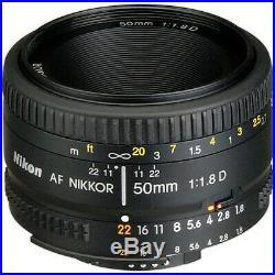 Nikon AF NIKKOR 50mm f/1.8D Autofocus Lens + Telephoto and Wide Angle Bundle