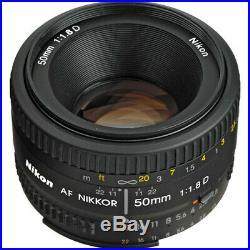 Nikon AF NIKKOR 50mm f/1.8D Lens + Great Value Accessory Bundle