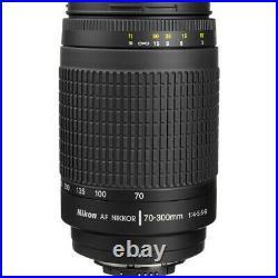 Nikon AF Zoom Nikkor 70-300mm f/4-5.6G Lens (Black) 1928 Filter Kit Bundle