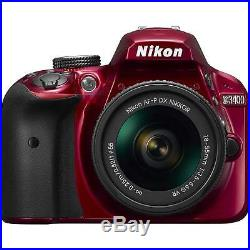 Nikon D3400 DSLR Camera with AF-P DX NIKKOR 18-55mm f/3.5-5.6G VR Lens Red