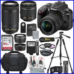 Nikon D3400 with 18-55mm f/3.5-5.6G VR + AF-P DX NIKKOR 70-300 lens, BUNDLE